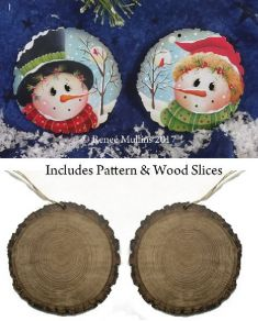 #719 Woodsy Winter Snowmen Ornaments  (PATTERN & WOOD KIT)